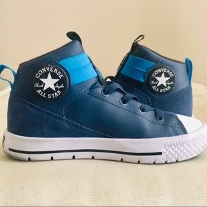 Converse Hi Top Slip On Blue Leather Sneakers 3